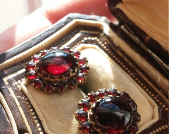 Bohemian Garnet Cabochon Stud Earrings