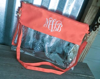 Clear Stadium Bag with ORANGE Trim and Monogram