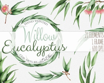 """Eucalyptus greenery clipart willow seeded clip art greenery vector watercolor gum nuts leaves wedding illustration - """"Willow Eucalyptus"""""""