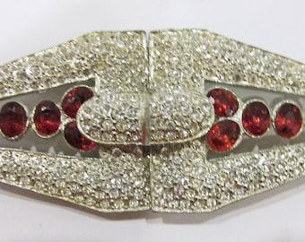 Vintage-Jewelry-Silver-Rhinestone-Belt Buckle-Costume Jewelry-Art Deco-Retro-Unique-Women-Gift-Birthday-Birthday Gift-Anniversary-1930s