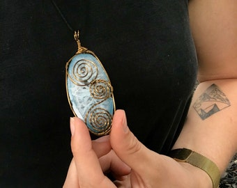 Winter is coming wire wrapped agate slice  crystal necklace
