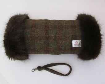 Harris Tweed 100% Wool Crofters Check Hand Muff with Chocolate Brown Faux Fur Trim