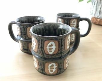 Artisan Mugs, Vintage Mugs, Coffee Mug Set, Studio Pottery, Set of Three, Ceramic Mugs, Hand Painted Coffee Mugs/ Tea Mug Set, Unique Mugs