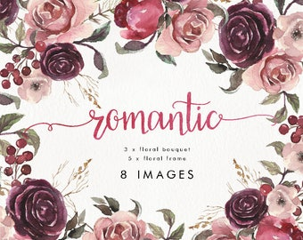 Watercolor set of 5 frames & 3 bouquet. Wedding, boho, floral, bohemian, clip art, vintage, collection, individual PNG, hand painted, rustic
