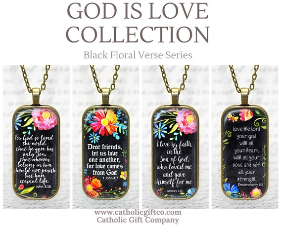 NEW Bible Verse Pendant with chain - 18 or 24 inches - GOD Is LOVE Collection
