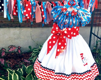 Custom Made Dr. Seuss Cat in the Hat birthday party pageant DRESS Embroidered Inspired outfit chevron Polka dot 24M 2T 3T 4 5 6 7 8 10 12