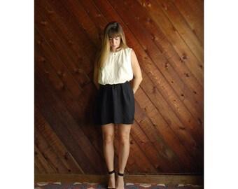 Colorblock Mini Secretary Dress - Vintage 80s - M L - Sleeveless - Black and White