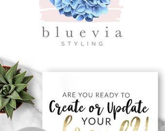 191 - Bluevia LO,GO Premade Logo Design, Branding, Blog Header, Blog Title, Business, Boutique, Custom, Flower, Floral, Hydrangea,