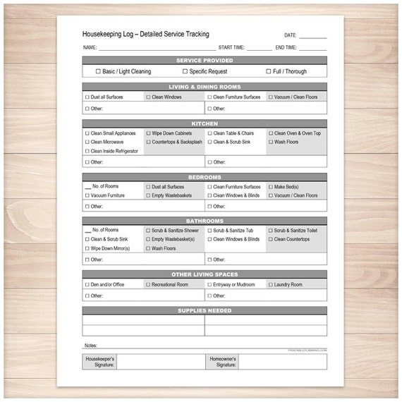 Printable Housekeeping Log Cleaning Service Detailed