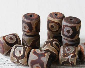 Tibetan Agate Beads - 15x15mm Agate Drum Beads - Jewelry Making Supplies - Large Barrel Beads - Rustic Brown Tribal