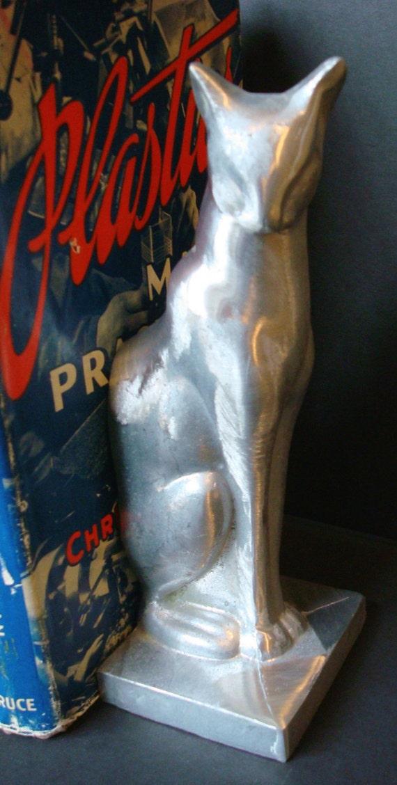 Frankart sitting cat bookends art deco unfinished aluminum