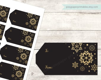 holiday gift tags printable DIY christmas gift cards favor tags favours black gold glitter snowflakes digital - INSTANT DOWNLOAD