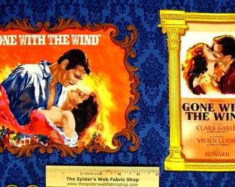GONE with the WIND Movie Classic Fabric Panel - Rhett Butler & Scarlett O'Hara - Quilt Shop Quality Fabric - 1/3 yd.