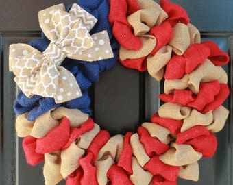 Patriotic Wreath, Memorial Day Wreath, Patriotic Burlap Wreath, Americana Wreath, 4th of July Wreath, 4th of July decor,