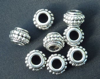 7 beads 9mm rondelle decorated silver metal