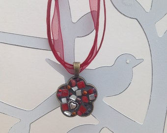 One Heart Red Flower Mosaic Necklace Pendant