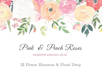 Watercolour Flower Clipart Elements - Pink and Peach Roses, floral drop, DIY wedding, wedding elements, flower frame, rose clipart