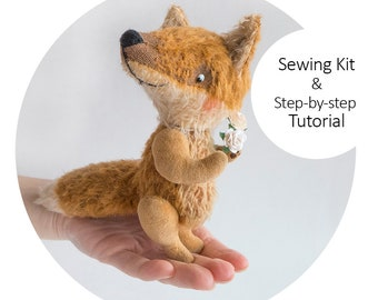 Sewing Kit Teddy Fox with Tutorial and Pattern - DIY Teddy Fox 12cm from mohair