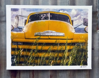 1948 Chevrolet Loadmaster Flatbed print on canvas rustic art mancave photograph modern art decor billard room emusion image transfer