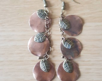 Gold and copper leaf chain earrings