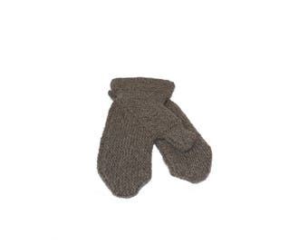 Dark Gray Mittens Hand knit Natural Wool