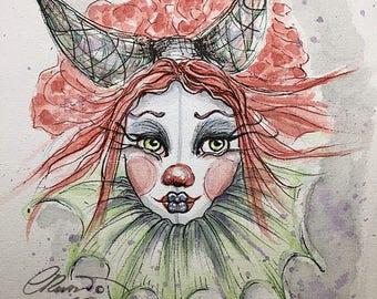 Clown, Watercolor, Limited Edition Print, Signed Prints, Fantasy Art,  Pop Surrealism, Lowbrow, Dark art, Inktober, Drawlloween