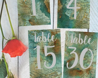 Table Numbers 1-30, Vintage Map, Travel Themed, Instant Download! Each table number measures 4x6 inches **Printable Item**