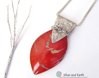 Red Jasper Sterling Silver Necklace, Handmade Silver Jewelry, Red Stone Pendant, One of a Kind, Red Jasper Necklace, Jewelry Gift for Her