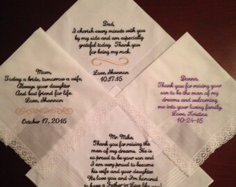 Set of four custom wedding handkerchiefs hankies