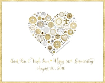 Golden Anniversary Gifts Framed Heart Gold Button Art Fiftieth Anniversary 50th Anniversary Heart Wall Hanging Vintage Buttons Swarovski