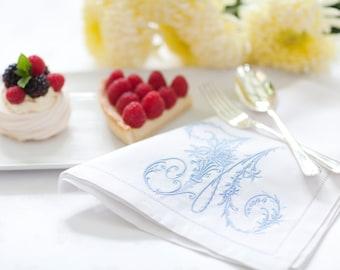 Personalised Monogram Napkins ,Victorian Whitework Monogram, Monogram Linen Napkins, 12th Wedding Anniversary Gift, Monogram Table Linen