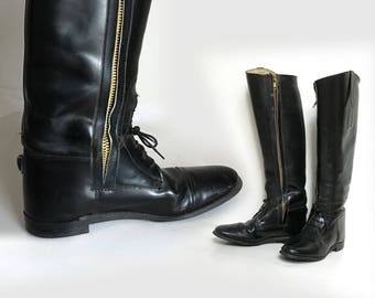 Lace up zipper riding boots women 9.5//men 8.5 42 Vintage English riding boot/tall black knee boot 1930s steampunk/moto hunting equestrian