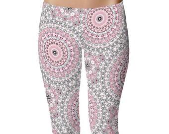 Pink and Gray Yoga Print Leggings Women, Cute Leggings, Yoga Tights, Yoga Pants, Mandala Printed Leggings, Womens Stretch Pants