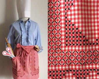 Vintage 1960's Red & White Gingham Check Cross Stitch Embroidered Farmhouse Kitchen Handmade Apron