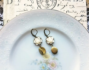 Vintage Cream Flower Dangle Earrings with Mini Lockets, Vintage Locket Earrings, Antique Bronze Setting, Hypoallergenic