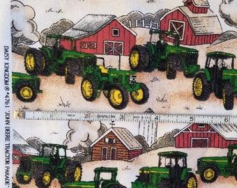 "JOHN DEERE Fabric TRACTOR Parade Print 44"" W x 18"" By the Half Yard Daisy Kingdom Springs Industries Red Barn"