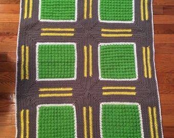 Crochet road block blanket, race track blanket