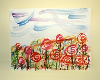 LIVRAISON gratuite aquarelle originale. Peinture originale.  28 x 21 cm