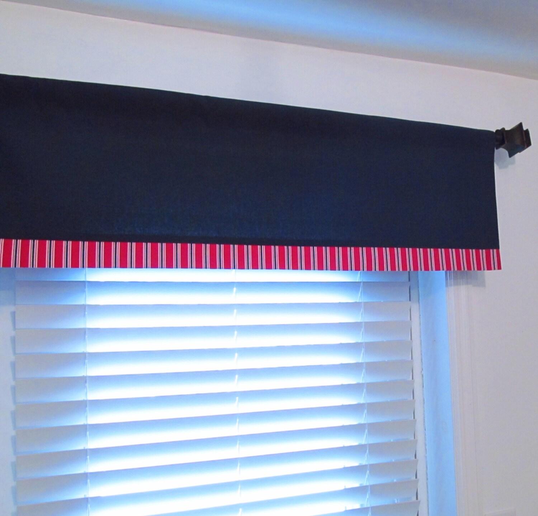 NAUTICAL Valance Boys Room Decor Navy Blue Red White/ Custom