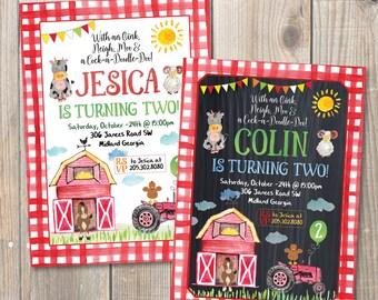 Farm Birthday Invitation, Barn Farm Invitation, Barn Animals Pig, Chicken, Sheep and Cow, Digital Printable