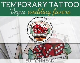 Las Vegas Wedding Favors - Temporary Tattoos - Set of 12
