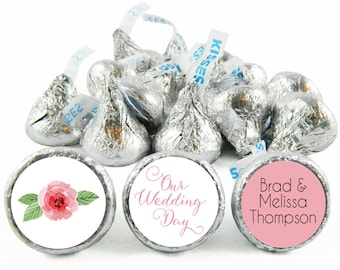 Set of 108 - Our Wedding Day Kiss Stickers for Hershey's Kisses. Our Wedding Day Labels - Wedding Party Favors - #IDWED703