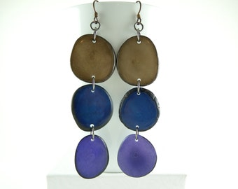 Brown, Navy, and Grape Purple Trio of Peacock Colors Tagua Nut Eco Friendly Earrings with Free USA Shipping #taguanut #ecofriendlyjewelry