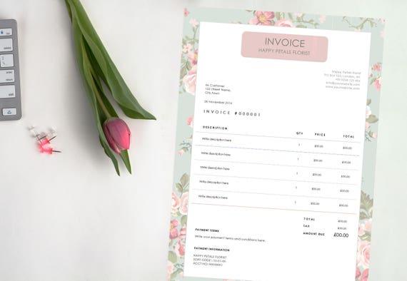 Hübsches Blumenmuster Rechnung Editierbare Word-Dokument