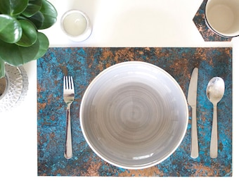 Patinated Copper Placemat Set - Large