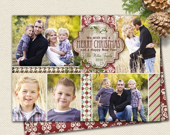 Photo Christmas Card| Photo Holiday Card| Rustic Photo Card| Multiple Photos| Wood| Printable Christmas Card | Pattern Card| Personalized