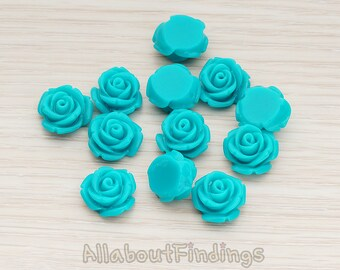 CBC141-01-TE // Teal Colored Curved Petal Rose Flower Flat Back Cabochon, 6 Pc