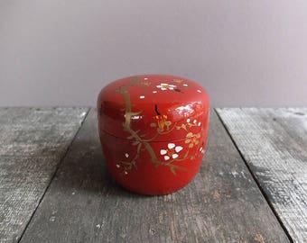 Vintage Red Japanese Trinket Box / Jewelry Box
