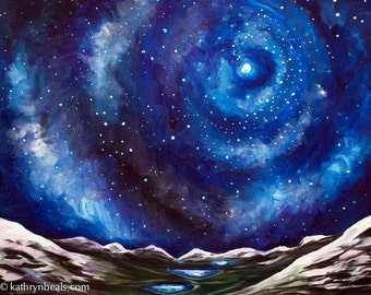 Starry Night in the High Sierras, Landscape Painting - Photo Print