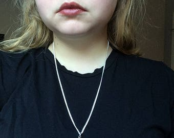 Delicate Pale Pink Gemstone Silver Necklace (Long)